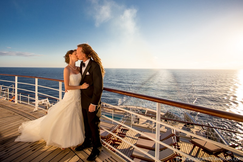 Bride and Groom on Queen Mary 2 deck