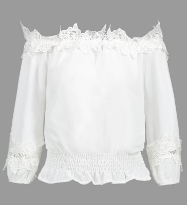 Off Shoulder Smocked Lace Panel Blouse - Zaful