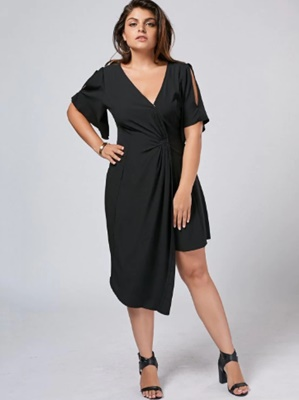 Zaful Plus Size Slit Asymmetrical Dress.