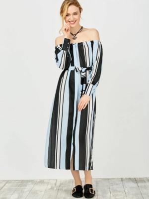 Zaful multi stripes off shoulder dress.