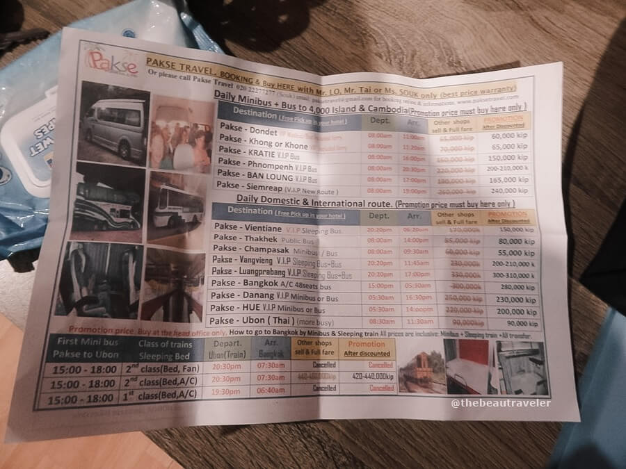 The flyer with the list of prices for the bus from Pakse to various destinations.
