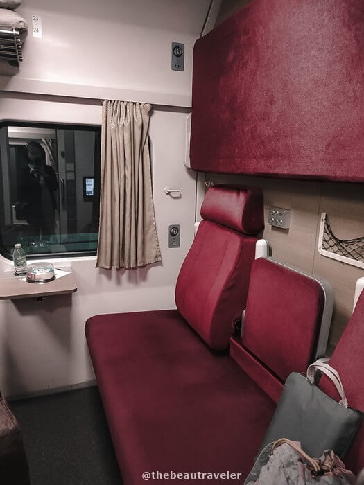 The seat at the first-class train from Nong Khai to Bangkok.